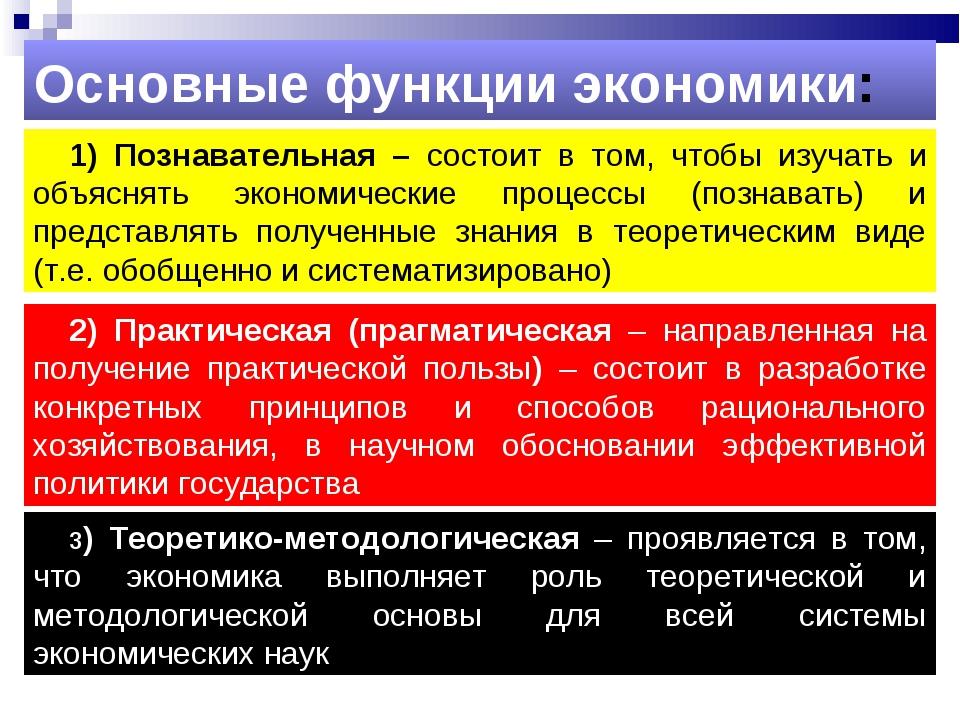 1) Познавательная – состоит в том, чтобы изучать и объяснять экономические пр...