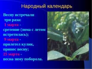 Народный календарь Весну встречали три раза: 1 марта - сретение (зима с летом
