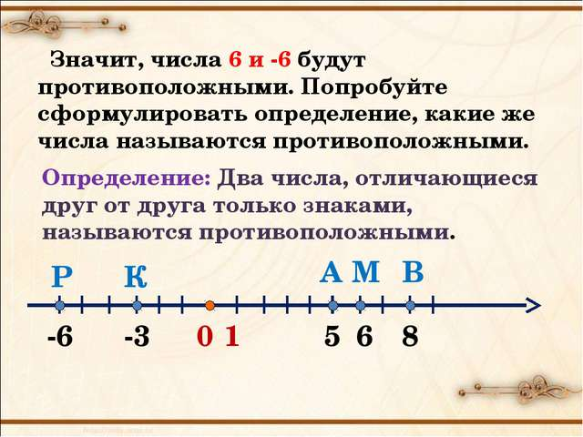 0 1 А -3 -6 6 В М К Р 5 8 Значит, числа 6 и -6 будут противоположными. Попроб...