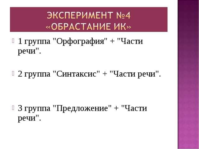 "1 группа ""Орфография"" + ""Части речи"". 2 группа ""Синтаксис"" + ""Части речи"". 3..."