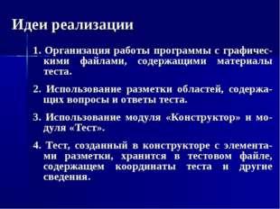 Идеи реализации 1. Организация работы программы с графичес-кими файлами, соде