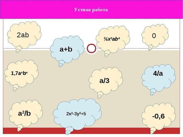 Устная работа 2ab a/3 a2/b 2x2-3y3+5 ⅜x3ab4 -0,6 0 1,7anbn a+b 4/a