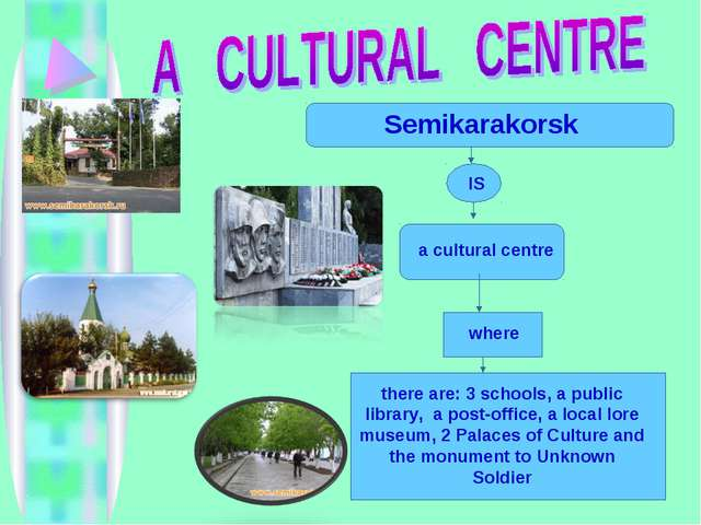 a cultural centre where there are: 3 schools, a public library, a post-offic...