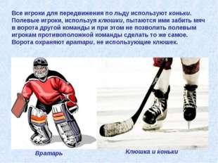 Все игроки для передвижения по льду используют коньки. Полевые игроки, исполь