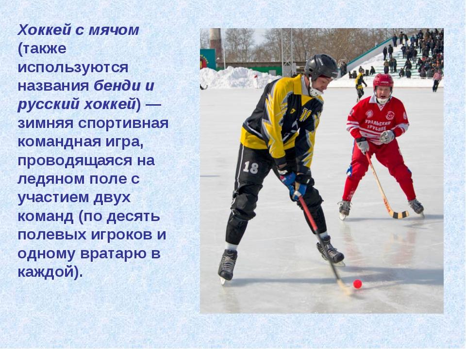 Хоккей с мячом (также используются названия бенди и русский хоккей) — зимняя...