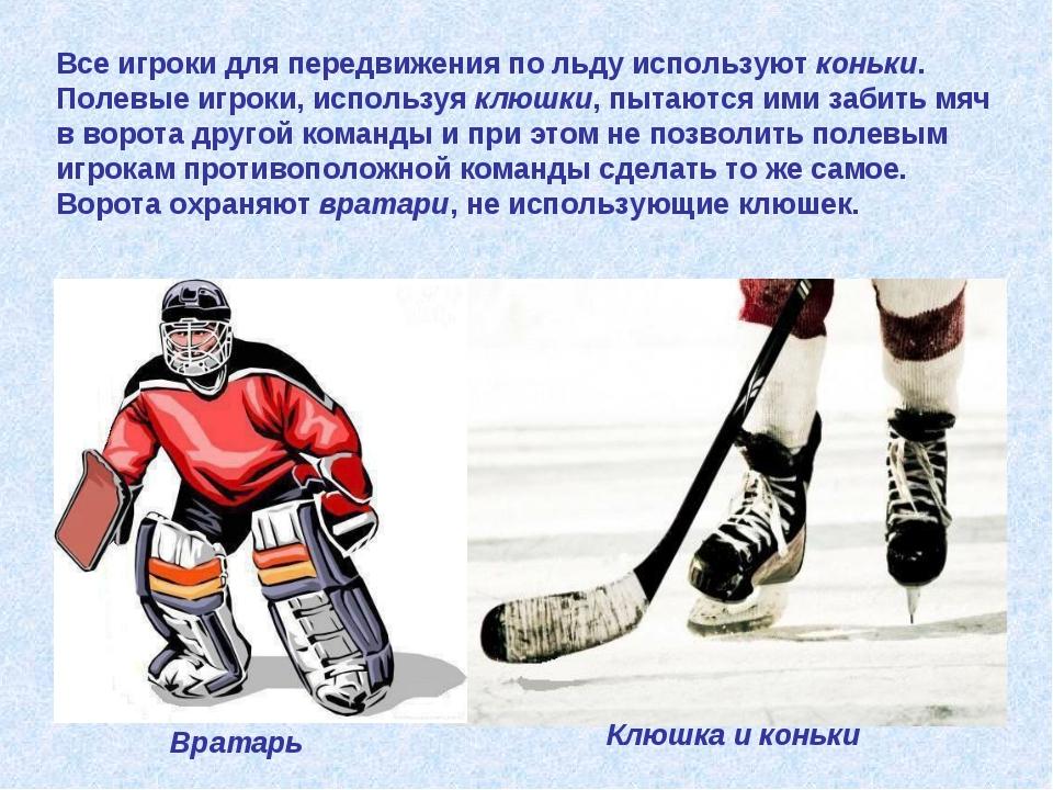 Все игроки для передвижения по льду используют коньки. Полевые игроки, исполь...