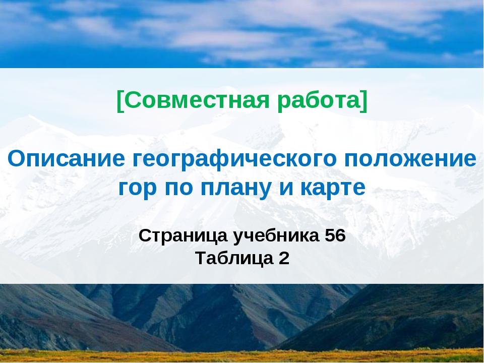 [Совместная работа] Описание географического положение гор по плану и карте С...
