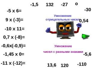 -5 х 6= 9 х (-3)= -10 х 11= 0,7 х (-8)= -0,6х(-0,9)= -1,45 х 0= -11 х (-12)=