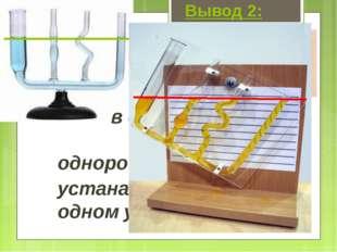 Вывод 2: в сосудах любой формы однородная жидкость устанавливается на одн