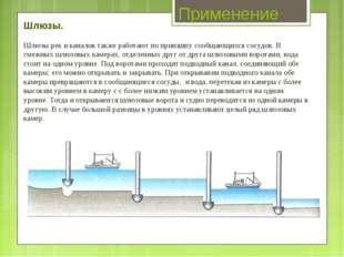 Применение Шлюзы. Шлюзы рек и каналов также работают по принципу сообщающихся