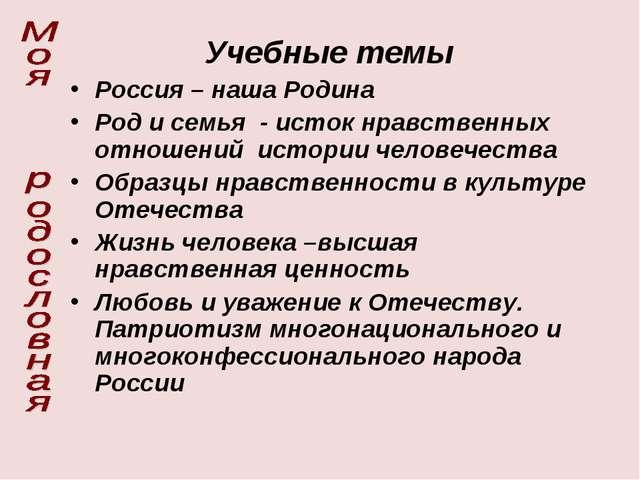 Учебные темы Россия – наша Родина Род и семья - исток нравственных отношений...