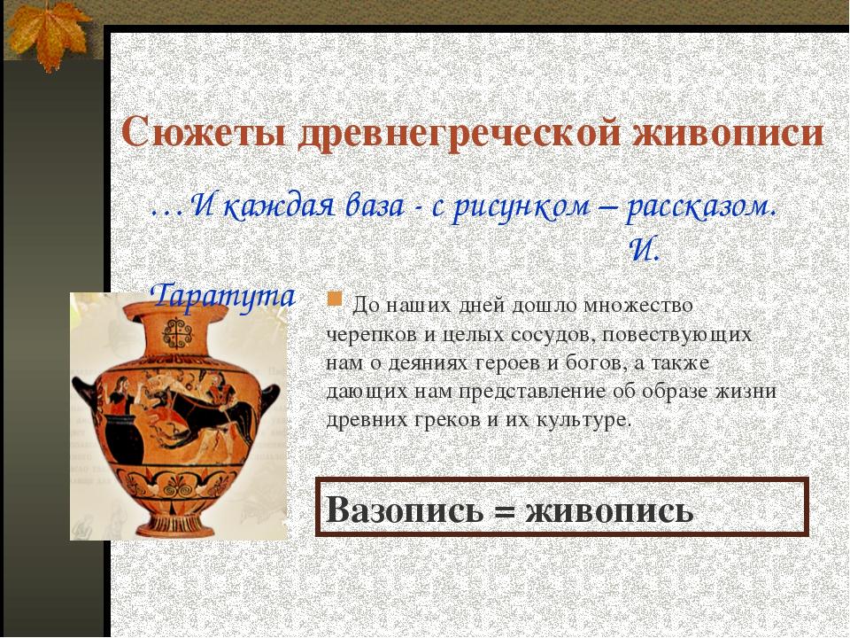 Сюжеты древнегреческой живописи Вазопись = живопись До наших дней дошло множе...