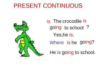 PRESENT CONTINUOUS The crocodile is going Is ? Yes,he is. Where is going? He