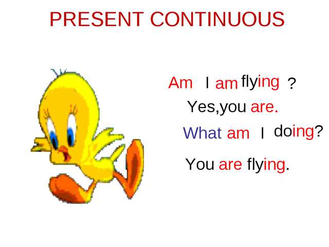 PRESENT CONTINUOUS I am flying Am ? Yes,you are. What am I doing? You are fly...