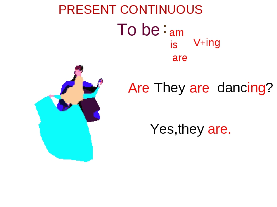 To be am is V+ are ing They are dancing Are ? Yes,they are. PRESENT CONTINUOU...