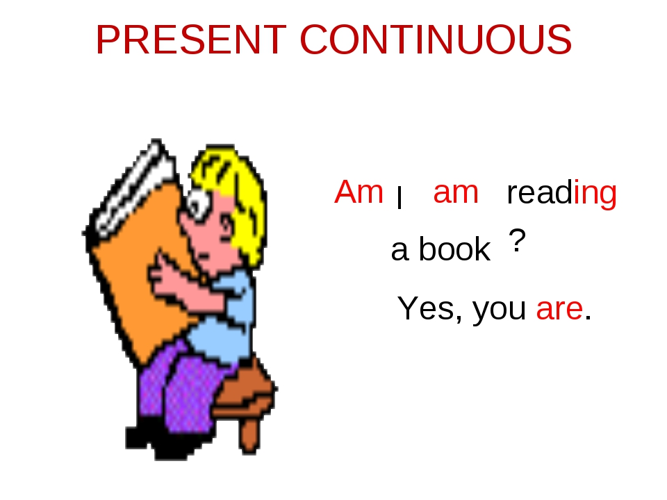 PRESENT CONTINUOUS I am reading a book Am ? Yes, you are.