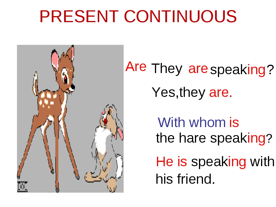 PRESENT CONTINUOUS They are speaking Are ? Yes,they are. With whom is the har...