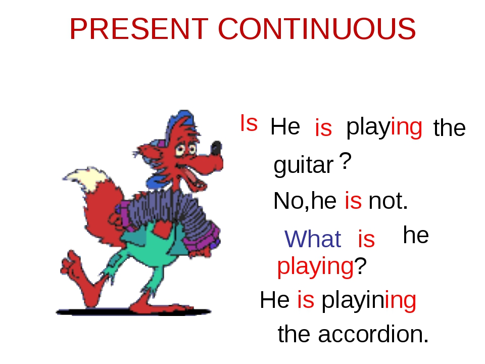PRESENT CONTINUOUS He is playing the guitar Is ? No,he is not. What is he pla...