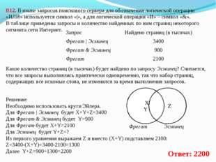 В12. В языке запросов поискового сервера для обозначения логической операции