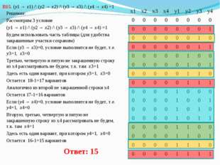 В15. (y1 → x1) /\ (y2 → x2) /\ (y3 → x3) /\ (y4 → x4) =1 Решение: Рассмотрим