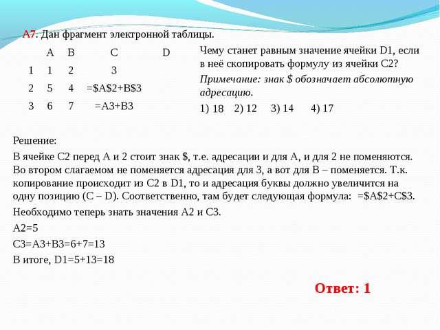 А7. Дан фрагмент электронной таблицы. Чему станет равным значение ячейки D1,...
