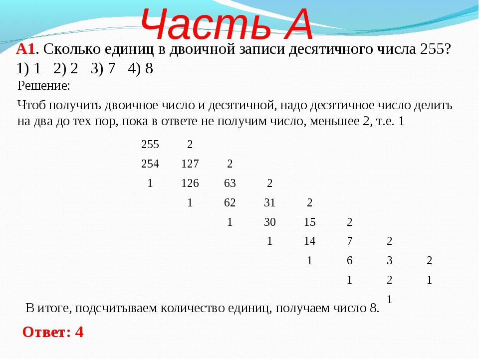 А1. Сколько единиц в двоичной записи десятичного числа 255? 1) 1 2) 2 3) 7 4)...