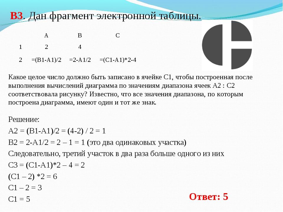 В3. Дан фрагмент электронной таблицы. Решение: А2 = (B1-A1)/2 = (4-2) / 2 = 1...