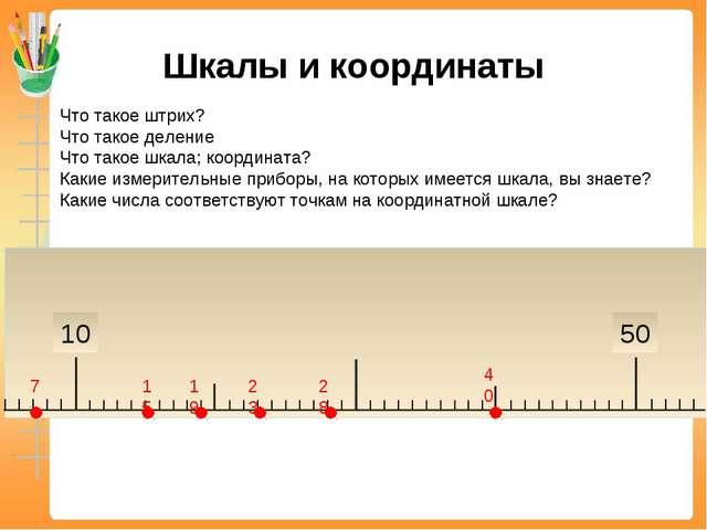 Шкалы и координаты Что такое штрих? Что такое деление Что такое шкала; коорди...