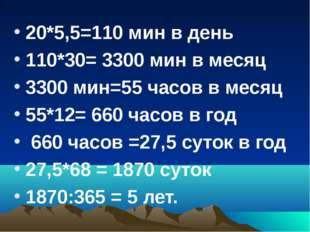 20*5,5=110 мин в день 110*30= 3300 мин в месяц 3300 мин=55 часов в месяц 55*1