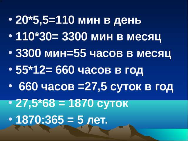 20*5,5=110 мин в день 110*30= 3300 мин в месяц 3300 мин=55 часов в месяц 55*1...