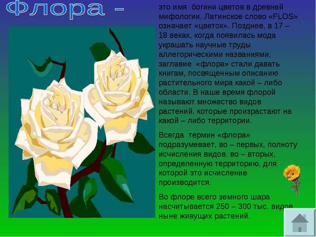 это имя богини цветов в древней мифологии. Латинское слово «FLOS» означает «ц...
