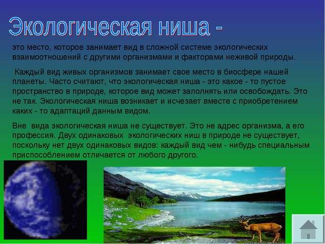 это место, которое занимает вид в сложной системе экологических взаимоотношен...