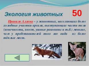 Экология животных      50 Правило Аллена – у животных, населяющих более хол