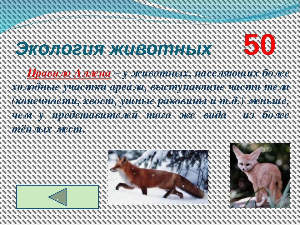 Экология животных      50 Правило Аллена – у животных, населяющих более хол...