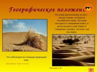 Географическое положение Евгенова Е.М. Природные зоны России Пустыни располож