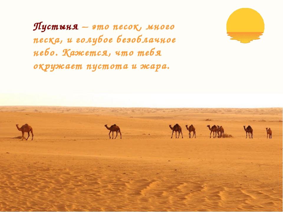 Пустыня – это песок, много песка, и голубое безоблачное небо. Кажется, что те...