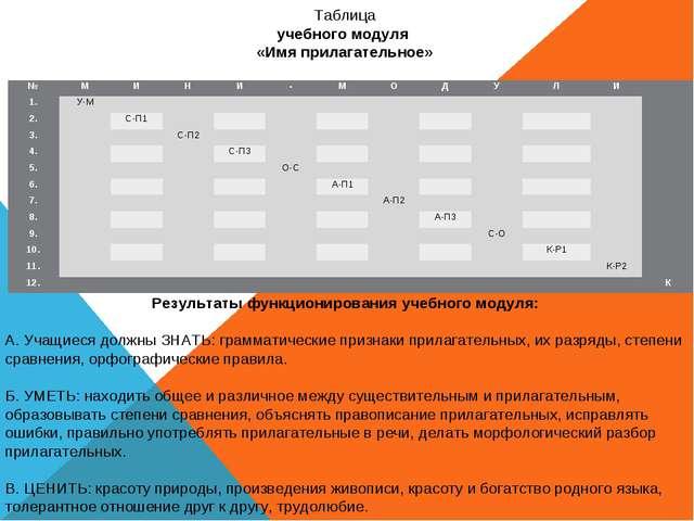 Таблица учебного модуля «Имя прилагательное» Результаты функционирования учеб...