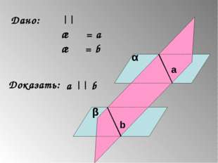 Дано: α || β γ ∩ α = а γ ∩ β = b Доказать: a || b α β γ a b