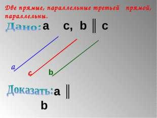 Две прямые, параллельные третьей прямой, параллельны. a ║ с, b ║ c a ║ b