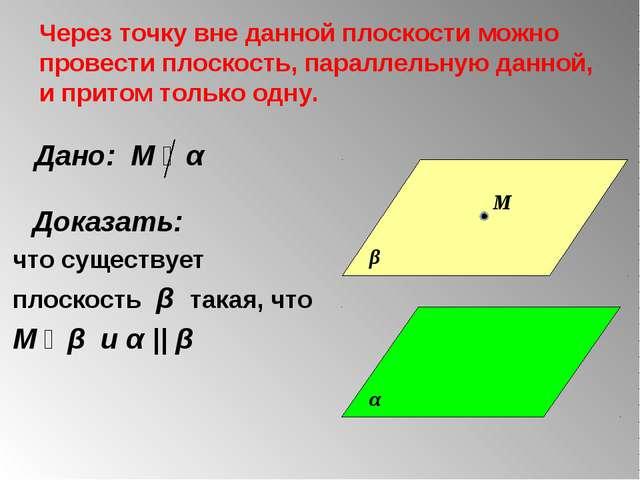 Через точку вне данной плоскости можно провести плоскость, параллельную данно...
