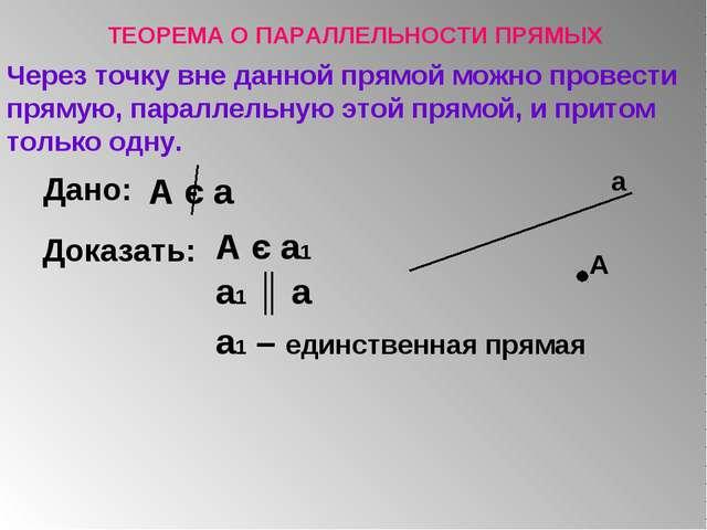 Через точку вне данной прямой можно провести прямую, параллельную этой прямой...