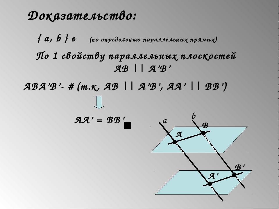 Доказательство: { a, b } є γ (по определению параллельных прямых) По 1 свойст...