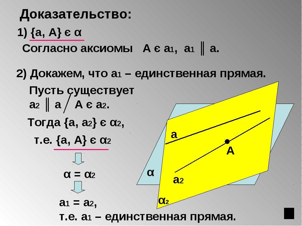 Доказательство: А α 1) {а, А} є α а1 2) Докажем, что а1 – единственная прямая...