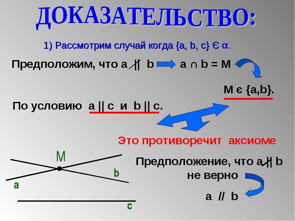1) Рассмотрим случай когда {a, b, c} Є α. М a b c Предположим, что a || b a...