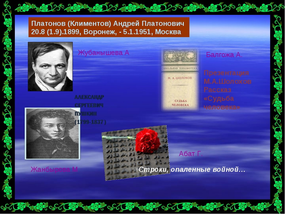 Платонов (Климентов) Андрей Платонович 20.8 (1.9).1899, Воронеж, - 5.1.1951,...