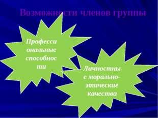 Возможности членов группы Профессиональные способности Личностные морально-эт
