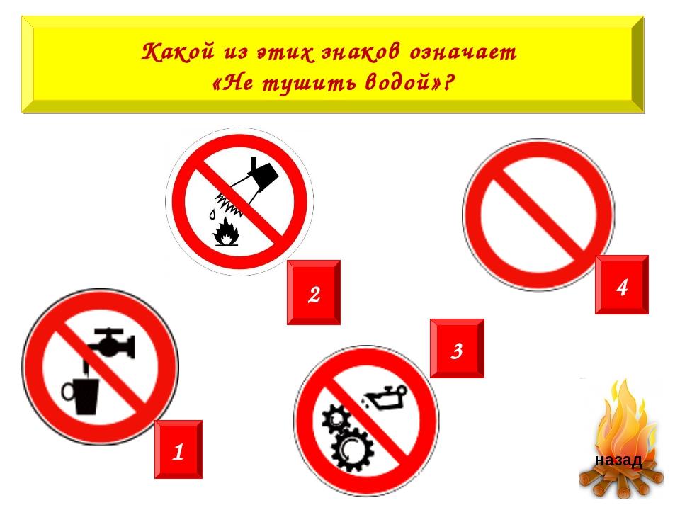 Какой из этих знаков означает «Не тушить водой»? 2 1 3 4