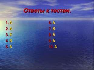 Ответы к тестам. 1. А 2. А 3. Б 4. В 5. А 6. А 7. В 8. Б 9. А 10. А