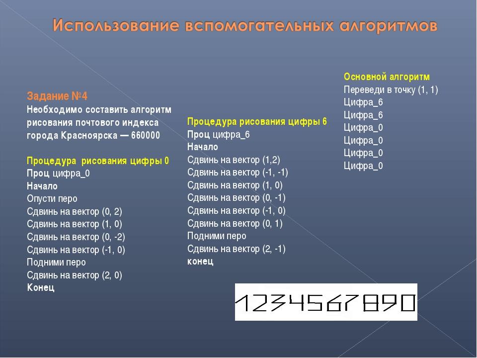 Задание №4 Необходимо составить алгоритм рисования почтового индекса города К...
