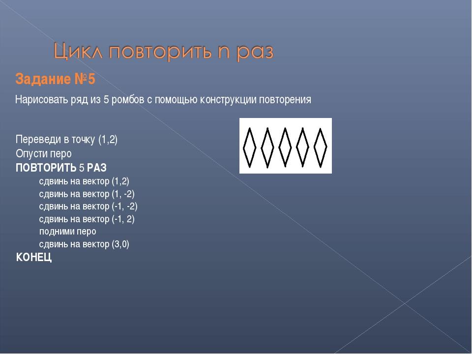 Задание №5 Нарисовать ряд из 5 ромбов с помощью конструкции повторения Переве...